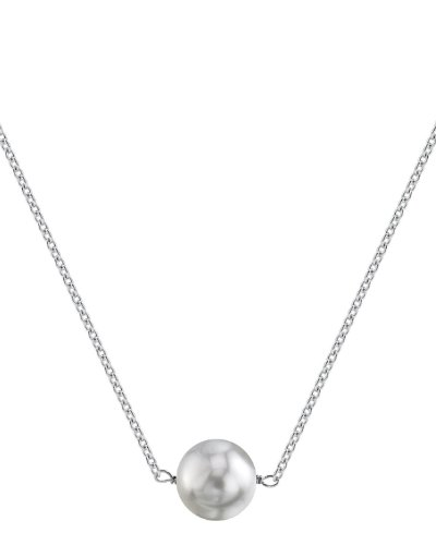 THE PEARL SOURCE 14K Gold 10-11mm Round White South Sea Cultured Pearl Solitaire Pendant Necklace for ()
