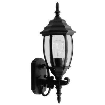 Livex Lighting 7532-04 Kingston - One Light Exterior Lantern, Black Finish with Clear Beveled Glass Black Kingston Wall Lantern