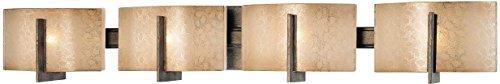 (Minka Lavery Wall Light Fixtures 6394-573 Clarte Glass Bath Vanity Lighting, 4 Light, 160 Watts Halogen, Patina)