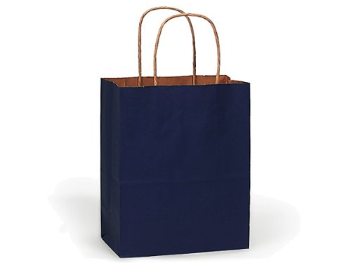 100% Recycled Kraft Tint Bags - Cub Dark Blue 100% Recycled Kraft Bulk Shopping Bags 8x4-3/4x10-1/4'' (250 bags) - WRAPS-BCTDB by Miller Supply Inc