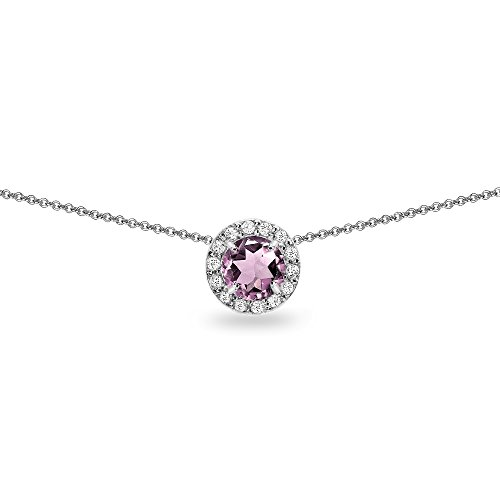 Alexandrite Slide (Sterling Silver Simulated Alexandrite and White Topaz Round Halo Slide Choker Necklace)