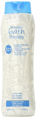 (Belcam Bath Therapy 3 in 1 Body Wash, Bubble Bath and Shampoo, Fragrance Free, 32 Fluid Ounce)