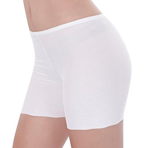 in per Donne Mutandine seta Bianco Culotte Pantaloncini TININNA Confortevole svuotato Morbida Anti Shorts Intimo 6ARqA0