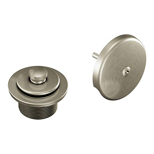 Drain Valve Assembly - Moen T90331BN Push-N-Lock Tub and Shower Drain Kit with 1-1/2 Inch Threads, Brushed Nickel
