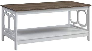 Convenience Concepts Omega Coffee Table, Driftwood Top White Frame