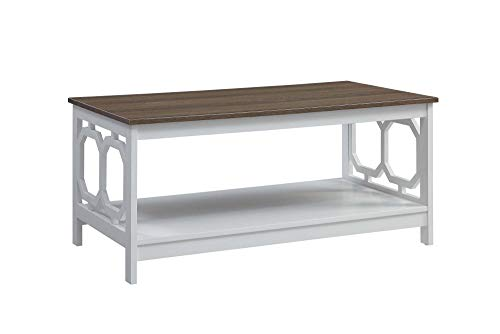 Convenience Concepts Omega Coffee Table, Driftwood Top/White Frame (Table Coffee Melamine)