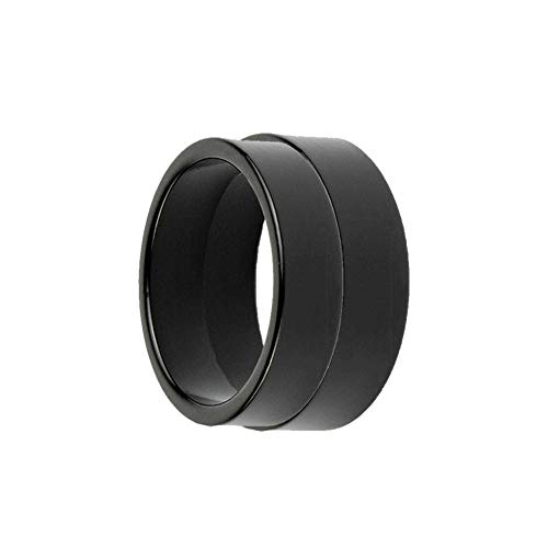 Xfunjoy 2 Pcs Different Size Strong Magnetic PK Ring with Video Turorial,Close Up Magic Tirck (Black, 19mm/21mm)