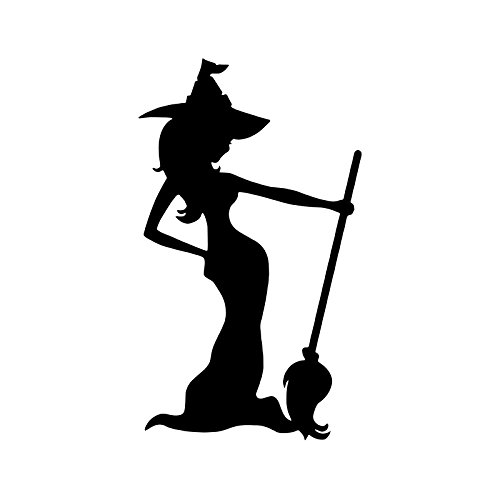Bargain Max Decals Witch and Broom Silhouette Decal Notebook Car Laptop 5.5