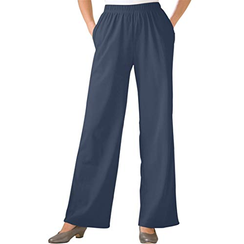 Woman Within Plus Size Petite 7-Day Knit Wide Leg Pant - Navy, ()