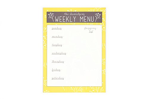 Personalized Dry Erase Calendars and Menus (Menu, Yellow)