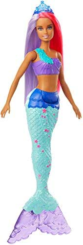 Barbie Dreamtopia Mermaid Doll, 12-Inch, Pink and Purple Hair, with Tiara, Gift for 3 to 7 Year Olds