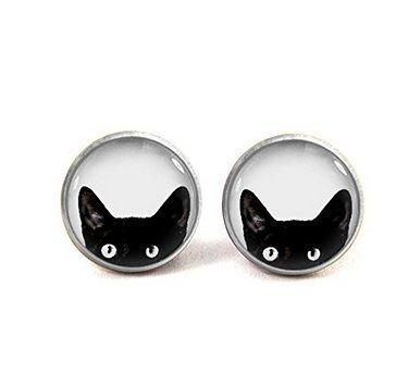 Cat Cord Earrings (Peeking Cat Earrings Black Cat Stud Jewelry Print Photo earrings ,Best Gift Christmas Gift)