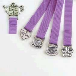 (Multi Ribbon Bookmark, Forever Friends, Teapot, Pink: Pewter Medal on Top and Bottom of Ribbon)