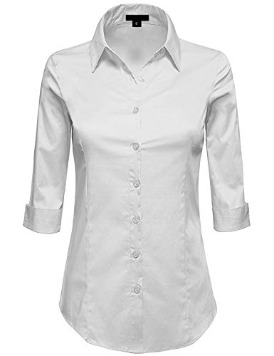 (MAYSIX APPAREL Womens 3/4 Sleeve Stretchy Button Down Collar Office Formal Shirt Blouse , Mss1_white, LARGE ( fits like Medium ))
