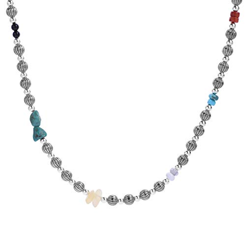 American West Sterling Silver Multi Gemstone Beaded Necklace 24 to 26 ()