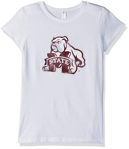 (Ouray Sportswear NCAA Mississippi State Bulldogs Women's Youth Princess Short Sleeve Tee, White, Medium)
