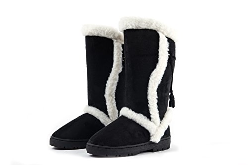 Amelia Women Faux Fur Lined Tall Winter Snow Boots (9, - Fur Boots Winter Faux