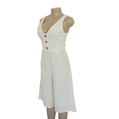 cuello mangas sin blanca mangas espalda sin y para sin mujer con espalda Jumpsuit Alaix con en mangas de ancha V w58vR0Zqqx
