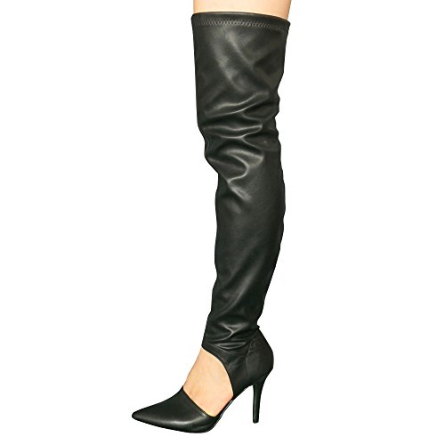 Womens PU Leather Sexy Point Toe Cut Out Stiletto Heel Over Knee Thigh High Boots Black US 7.5