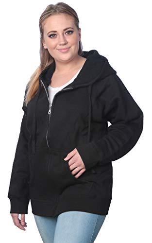 Womens Sweatshirt Plus Size Heavyweight Active Fleece Full Zip-Up Hoodie WF03_Y18 Black 1X