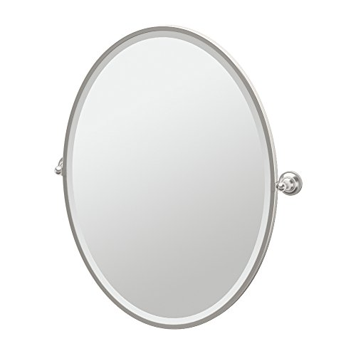 Gatco 4339FLG Tiara Framed Large Oval Mirror, Satin Nickel