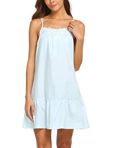 (Ekouaer 100% Cotton Victorian Nightgowns Crochet Women Sleeveless Pajama Dress (Blue 3, S))