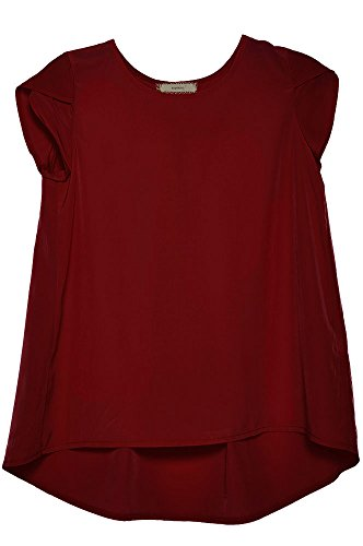 Big Girls Chiffon Cap Sleeve Layered Flare Top Blouse Burgundy XL