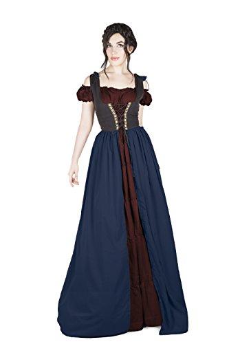 Renaissance Princess Adult Costumes (Renaissance Medieval Irish Costume Over Dress & Boho Chemise Set (L/XL, Indigo/Burgundy))