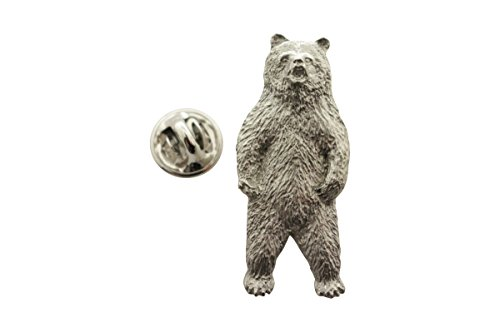 Grizzly Bear Standing Pin ~ Antiqued Pewter ~ Lapel Pin ~ Sarah's Treats & Treasures - Pewter Grizzly Bear