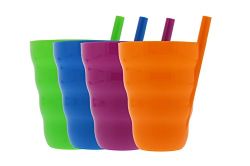 (Arrow Sip-A-Cup with Built In Straw For Kids Includes Purple, Blue, Green, Orange (4 Pack))