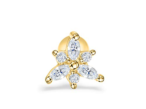 ONDAISY 14K Gold Plated Simulated Diamond Cz Cute Starfish Planet 3d Triangle Pyramid Ear Barbell Ball Stud Earring Piercing For Women Girls Men (Starfish Mini Earrings)