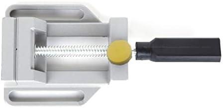 ミニ多機能ワーキングテーブルドリルフライス盤平行顎バイスドリルベンチクランプバイス木工用ワークテーブル-シルバー