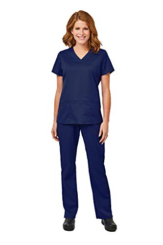 Elements by Alexander's Uniforms EL9925 Women's Four Way Stretch Scrub Set (Navy, Small)