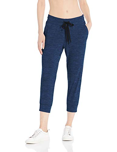 Amazon Essentials Women's Brushed Tech Stretch Crop Jogger Pant, Navy Spacedye, X-Small