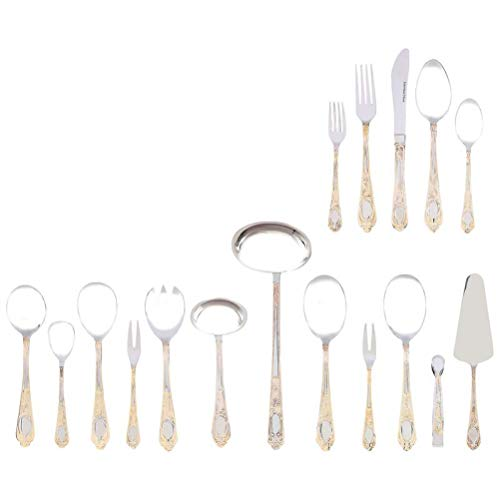 Sterlingcraft, Heavy-Gauge Stainless Steel 72pc Flatware and Hostess Set with Gold - Steel Flatware 72pc Stainless