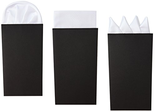 3-Pk White Pocket Square Set Pre Folded, Pesko, Crown and Puff Folds by Puentes Denver (Image #7)