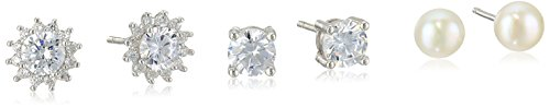 Sterling Silver Set of Three Stud Earrings - Solitaire Cubic Zirconia, Halo Flower Cubic Zirconia, & Pearl