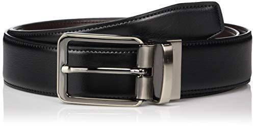 Perry Ellis Men's Portfolio Gunmetal Buckle Reversible Belt, black/Brown, 32