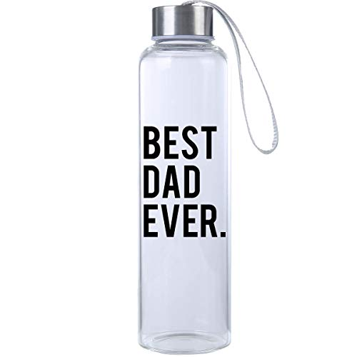 Mad 2 Order Best Dad Ever Glass Hydro Bottle; Novelty Glass Water Bottle from Mad Style ()