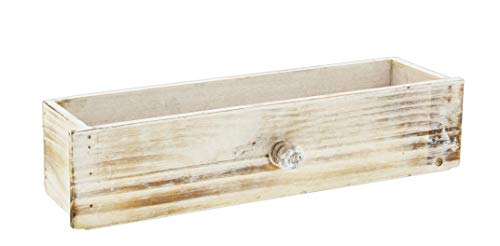 Lucky Winner Decorative Whitewash Wooden Cabinet Drawer Planter Box, 13