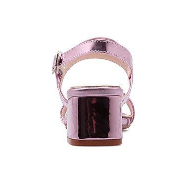 LvYuan Mujer Sandalias Pump Básico Cuero Patentado PU Verano Vestido Pump Básico Tacón Robusto Dorado Plata Rosa 2'5 - 4'5 cms Gold