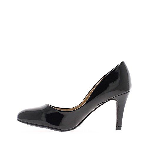 Escarpins femme noirs vernis à talon fin de 8,5cm