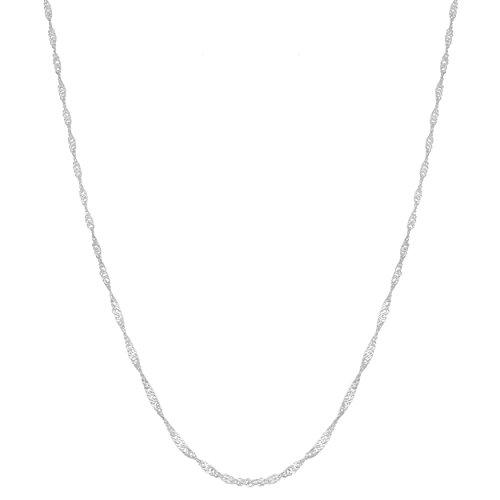 (Kooljewelry Sterling Silver 1.3 mm Daiinty Singapore Chain Necklace (20 inch))