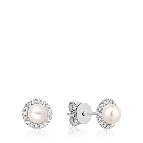 Jewels By Erika E-10PL10 10K Gold Pearl & Diamond Stud Earrings (White-Gold)