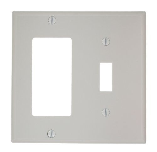 Dual Wall Plate - Leviton 80707-W 2-Gang 1-Toggle 1-Decora/GFCI Device Combination Wallplate, White