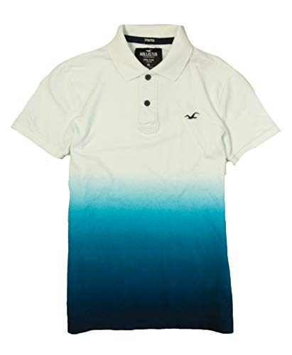 Hollister Mens Polo Shirt (White Blue Ombre 00106, XL) from Hollister