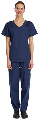 Denice / Full Set / Multiple Pockets / Nurses Scrub / Women / Medical Scrubs 1055 (2X-Large, Navy/Navy)