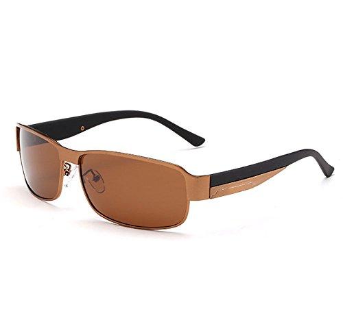 sol HAOYUXIANG Bronze Gold black hombre de Color HD sol polarizadas HD box tea Gafas retro clásica confort gafas de gray moda box qSSrEw