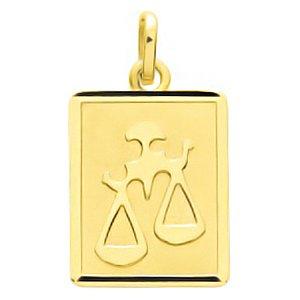 So Chic Bijoux © Pendentif Zodiaque Plaque Rectangulaire Signe Astrologique Balance Or Jaune 750/000 (18 carats)