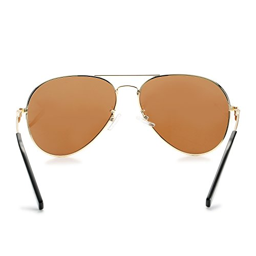 16313b79c5a ... Aviator Sunglasses for Men Women Polarized Mirrored Lens - UV 400 with  Case Gold Brown ...